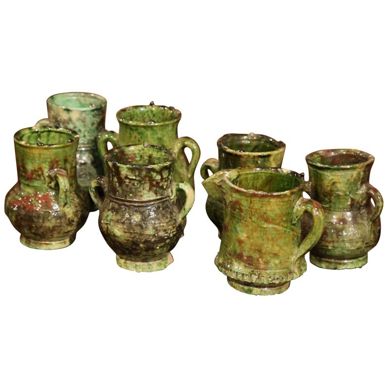 Set Of Seven French Green Glazed Pots Vases And Pitcher From