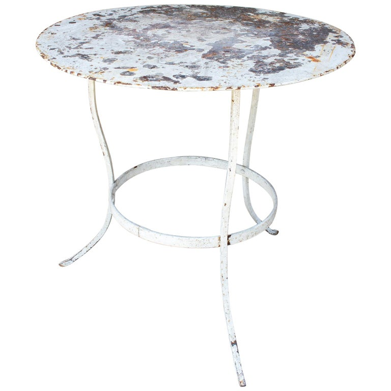 1930s French Distressed Painted Iron Garden Table