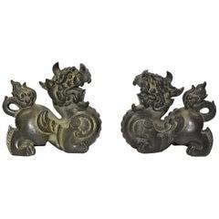 Pair of Large Bronze Pixiu Wealth Dragons, Doorstops, Paperweights