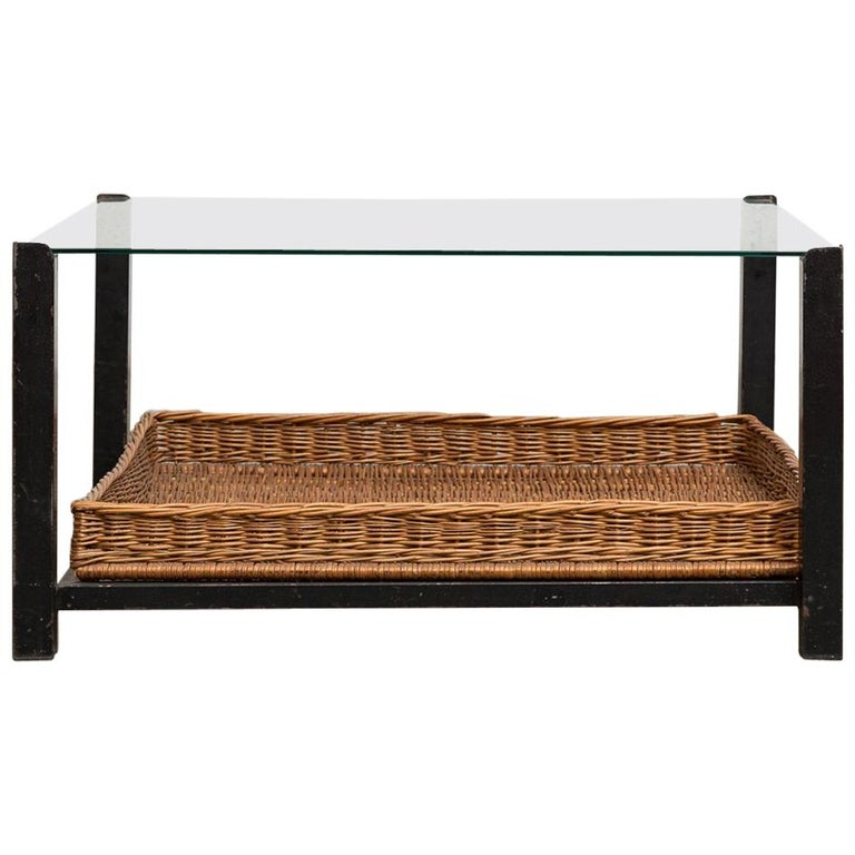 Square Metal and Glass Coffee Table with Lower Rattan Basket