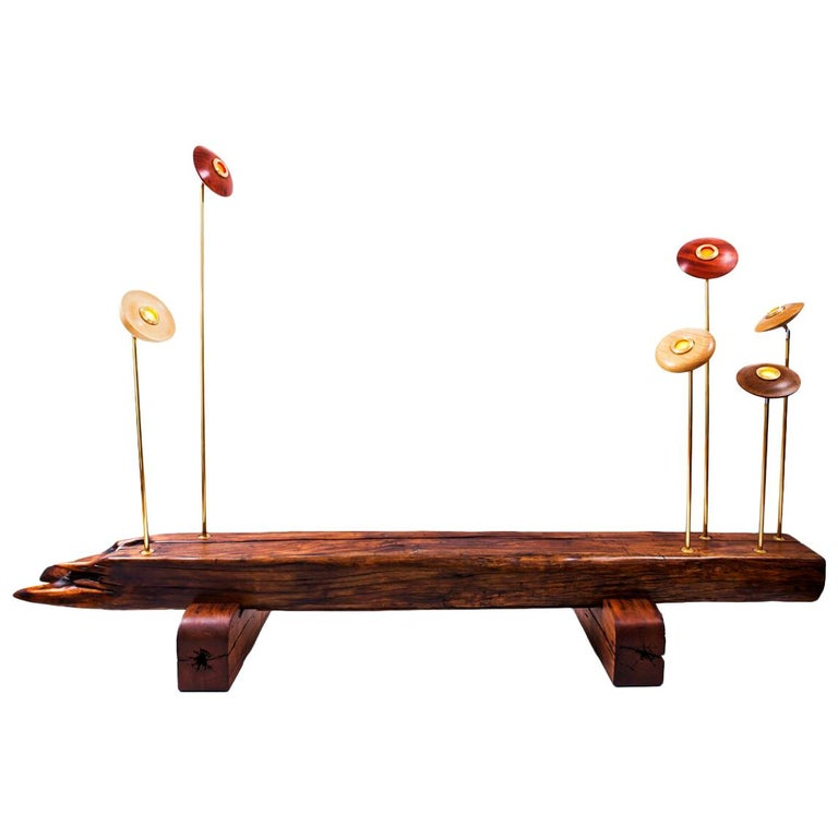 """""""Girassol"""" Contemporary Bench with lamps in Canela wood and brass"""