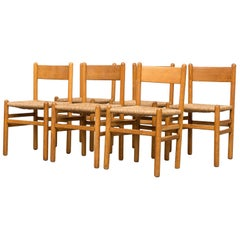 Set of Six Charlotte Perriand Style Rush Chairs