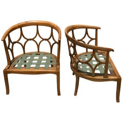 Pair of Mid Century Blonde Wood Club Chair Frames in the Style of Dorothy Draper