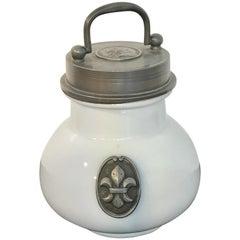Antique French Leech 'Hirudines' Jar, with Portrait Medallion of Louis XIV
