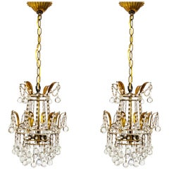 Pair of Petite Beaded and Drop Crystal Chandeliers
