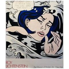 """Vintage Poster, """"I'd Rather Drown"""" by Roy Lichtenstein, 1980"""