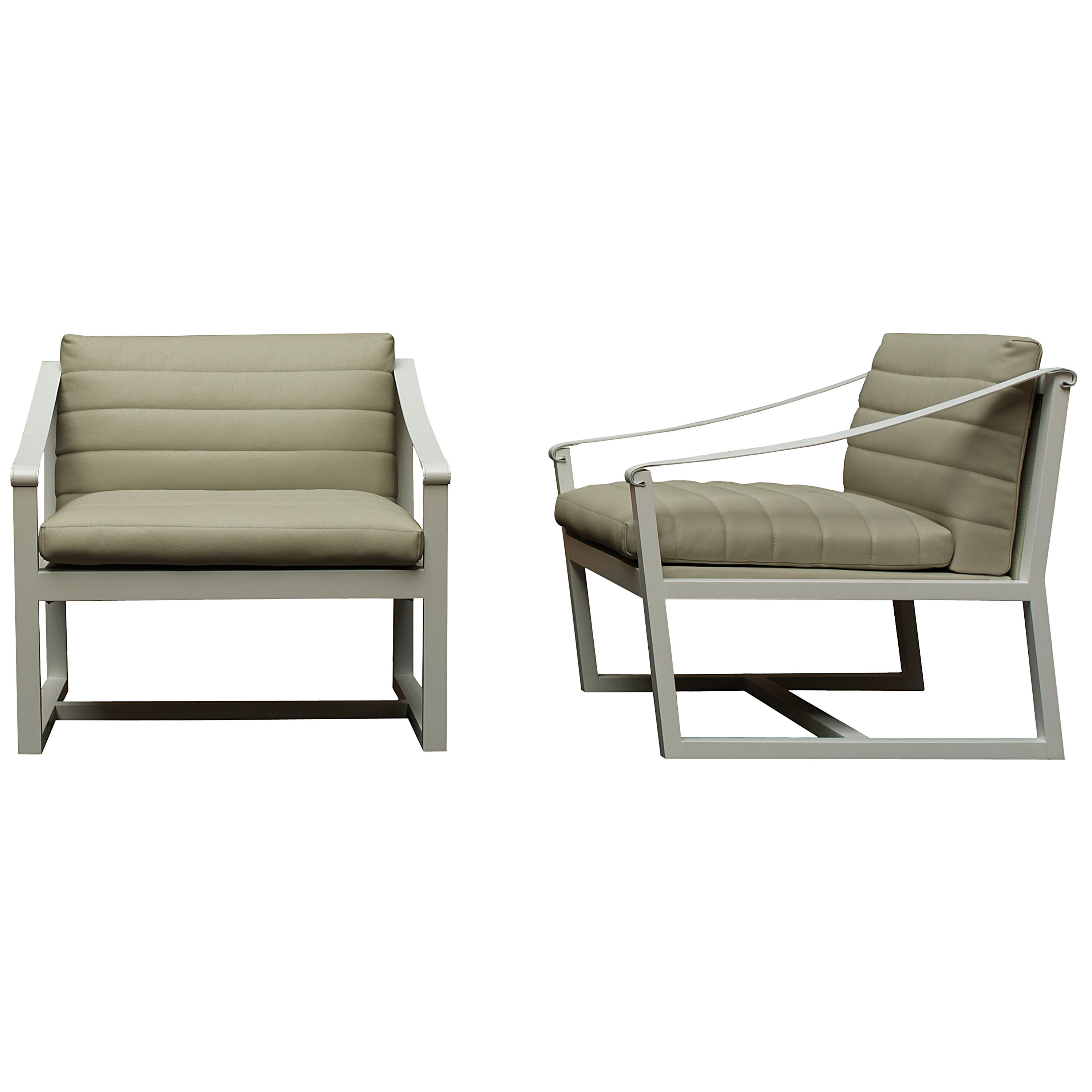 Nube Italia Softwood Armchair in Taupe Leather by Marco Corti