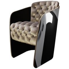 Nube Italia Sir Armchair in Gold with Black Back by Carlo Colombo