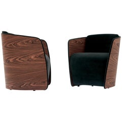Nube Italia Sir Armchair in Black with Wood Back by Carlo Colombo