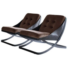 Nube Italia Rest Armchair in Brown and Black Fabric by Carlo Colombo