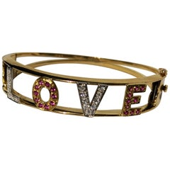 Midcentury Gold Bracelet Love with Diamonds and Rubis Handmade from Italy