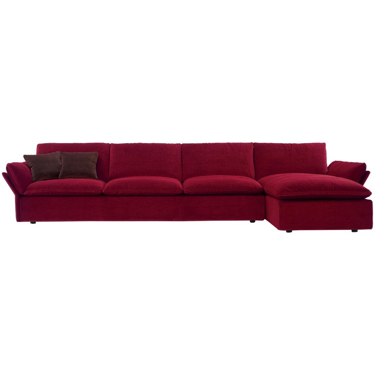 Nube Italia Tempt Sofa in Red Upholstery by Kemistry of Style