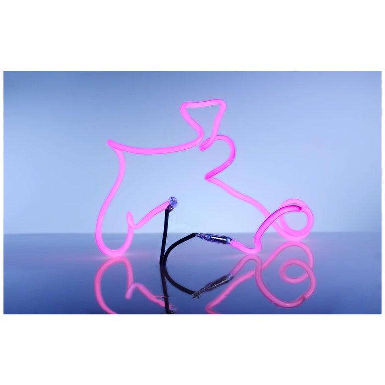 Hot Pink Neon Light Sculpture, Hand Bent Abstract Light Sculpture Modern Glass