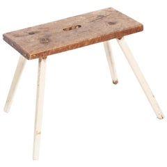 Antique Milking Stool in All Pine from Sweden, Late 1800s