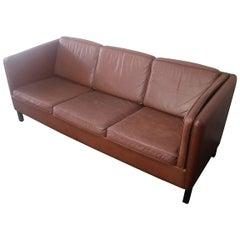 1970s Danish Midcentury Leather Three-Seat Sofa