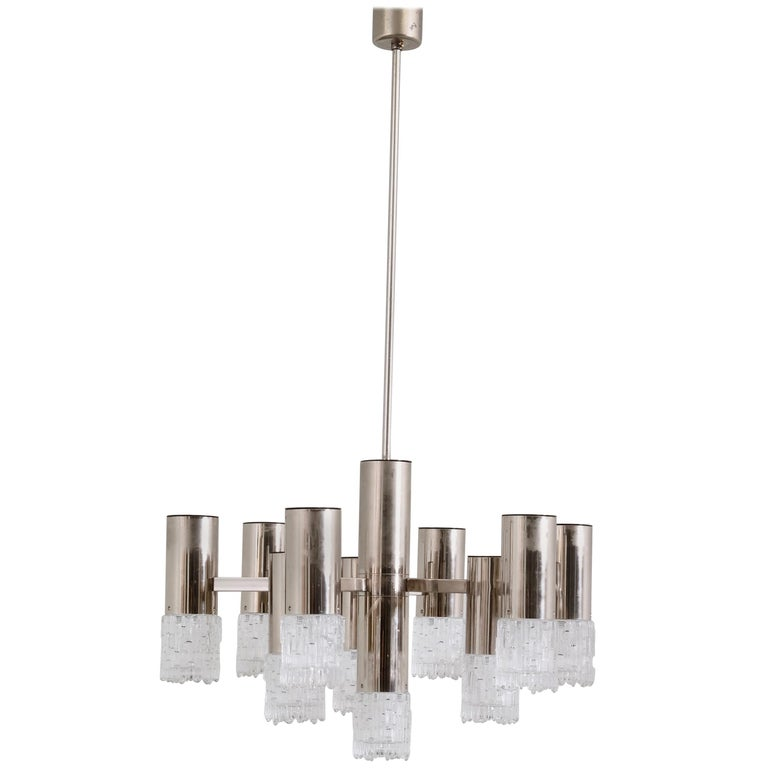 1970s Chrome and Glass Chandelier