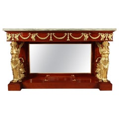 Mahogany, Marble and Gilded Bronze Empire Style Console