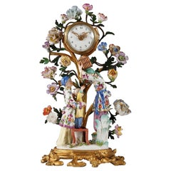 Samson & Cie Louis XV Style Porcelain and Gilded Bronze Clock