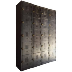 Industrial Metal Lockers Set of Four Loft Style Brushed Steel Cabinets