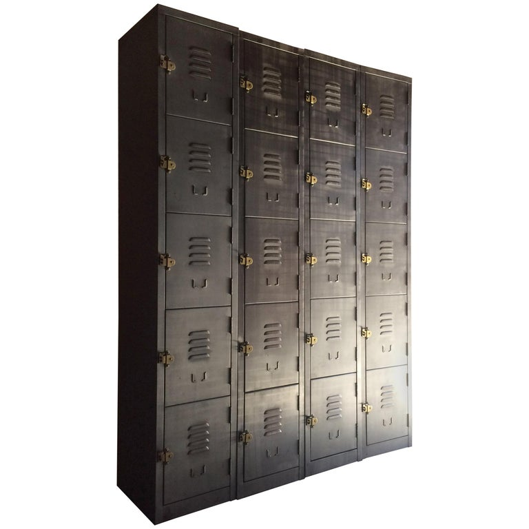 Metal Lockers Set Of Four Loft Style Brushed Steel Cabinets