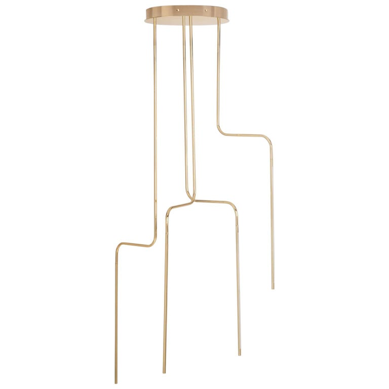 Gold Contemporary Ceiling Lamp in Tubular Brass, LED Lamp Type