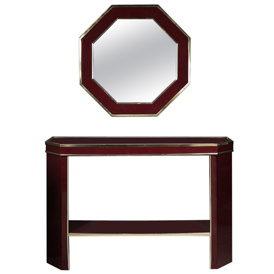 Italian Burgundy Lacquer and Brass Console Table with Matching Mirror, 1980s