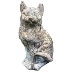 Petite English Cast Stone Statue of a Cat