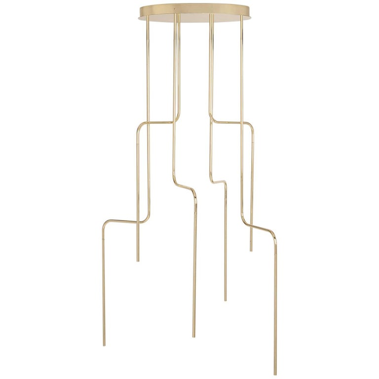 Gold Contemporary Ceiling Lamp in Tubular Brass, LED Lamp Type For Sale