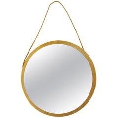 Swedish Midcentury Round Oak Frame Mirror, 1960s