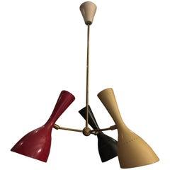Stilnovo Midcentury Italian Brass and Lacquered Aluminium Ceiling Lamp, 1950s