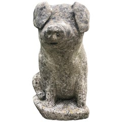 Beautifully-Patinated English Cast Stone Pig