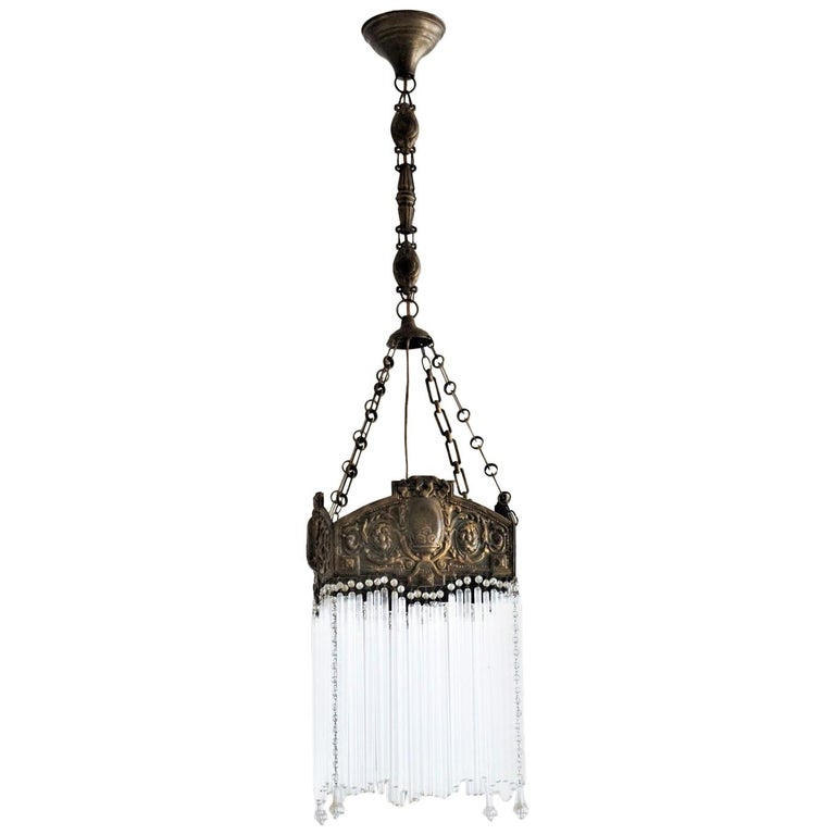 Early 20th Century French Art Nouveau Brass and Glass Rods Chandelier