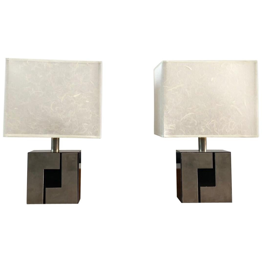 Pair Of French Table Lamps With Black And Silver Geometric Base And White  Shade