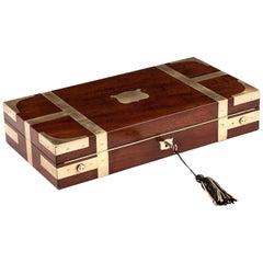Mahogany and Brass Jewelry Watch Box