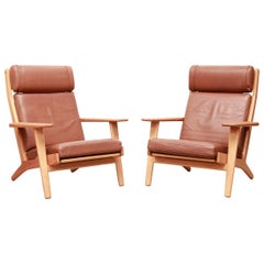 Set of Two Hans J Wegner GE290 Leather Lounge Chairs for GETAMA, 1960s