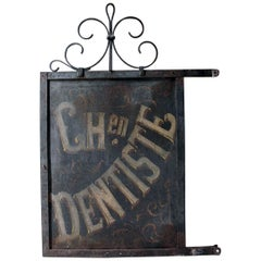 Large Double Sided Cast Iron French Sign Written Trade Sign Ch en Dentiste