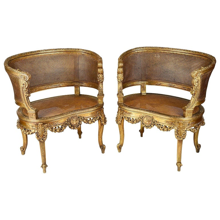 Pair of 19th Century French Gilded Salon Chairs