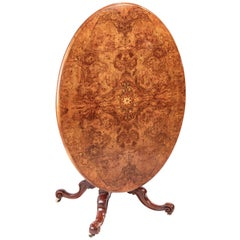 Fine Quality Victorian Oval Burr Walnut Inlaid Centre Table