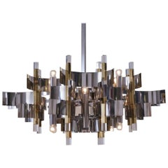 Sciolari Chandelier `Futura` 12-Lights, Brass, Chrome and Lucite, 1976 Italian
