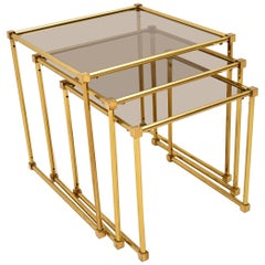 1970s Italian Vintage Brass Nest of Tables