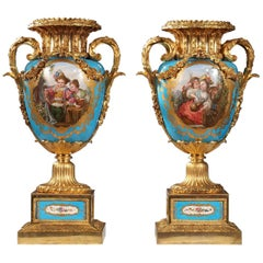 Pair of Sèvres Porcelain and Gilded Bronze Louis XVI Style Vases
