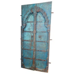Indian Carved Teak Doors with Original Paint