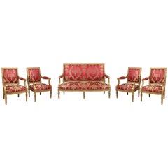Gilded Wood Louis XVI Style Salon Set