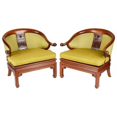 Pair of Chinese Horse Shoe Shaped Armchairs
