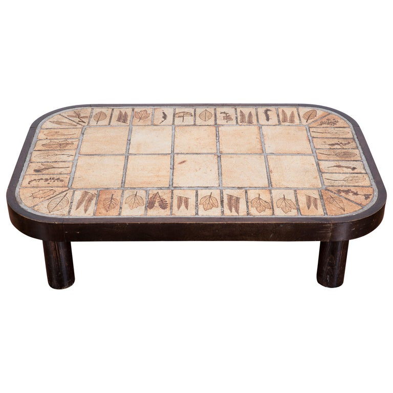 Roger Capron Garrigue Ceramic French Coffee Table, 1960s