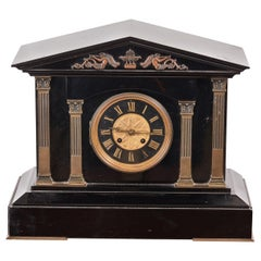 Antique Victorian Black Marble Mantel Clock