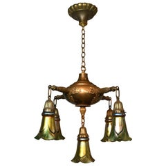 Five-Arm Brass Chandelier with Steuben Shades