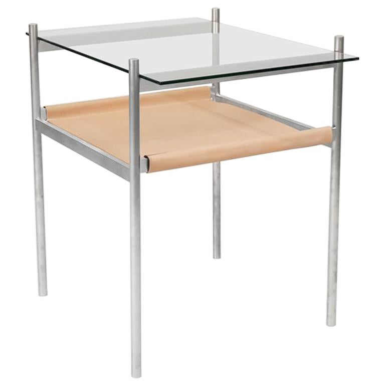 Duotone Rectangular Side Table, Aluminum Frame / Clear Glass / Natural Leather