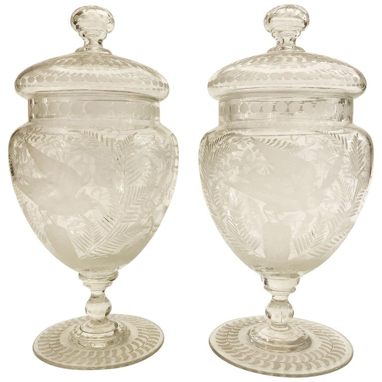 Pair Of Austrian Vases With Cover 19th Century Bohemian Clear