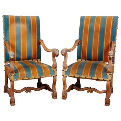 19th Century French Pair of Large Oak Armchairs with Lion Heads